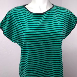 Vintage Tops - Vintage striped velour black and green shirt